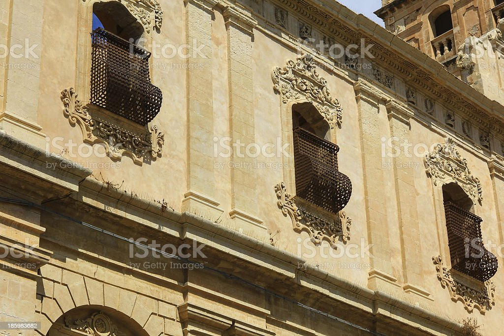 Old baroque building in Noto, Sicily royalty-free stock photo