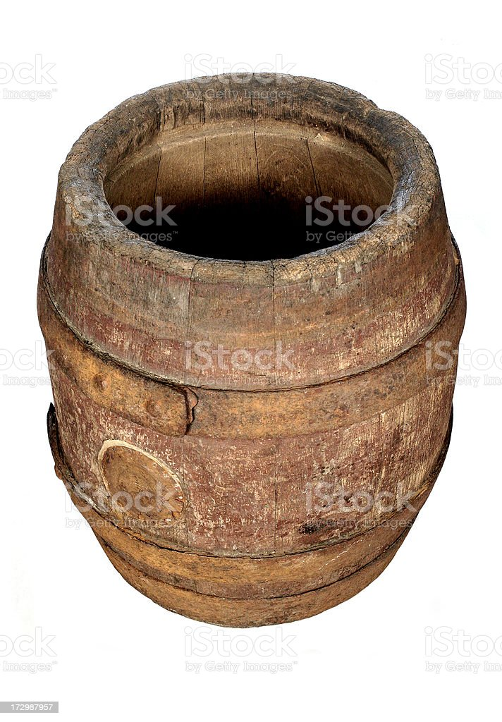Old Barrel in white background royalty-free stock photo