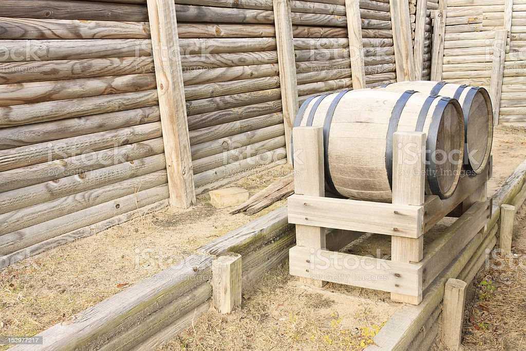 Old Barrels At Colonial Fort stock photo