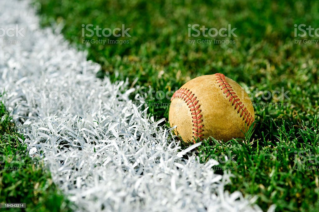 Old Baseball  along foul line royalty-free stock photo