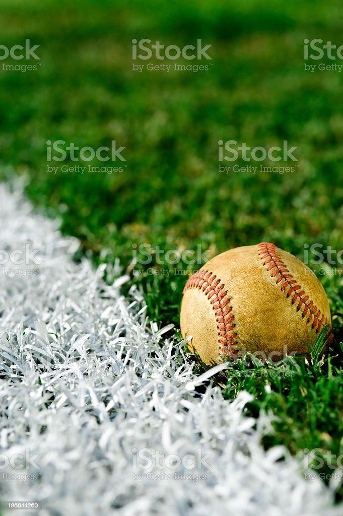 Old Baseball  along foul line stock photo