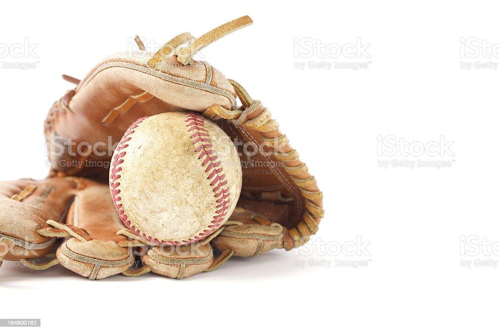Old baseball glove and ball stock photo