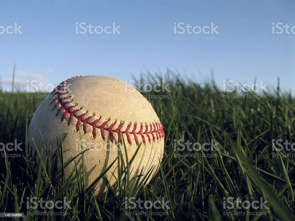Old baseball in grass royalty-free stock photo