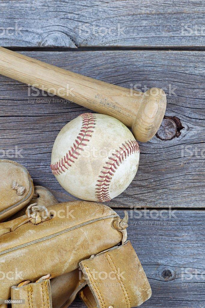 Old Baseball Items on rustic wood stock photo