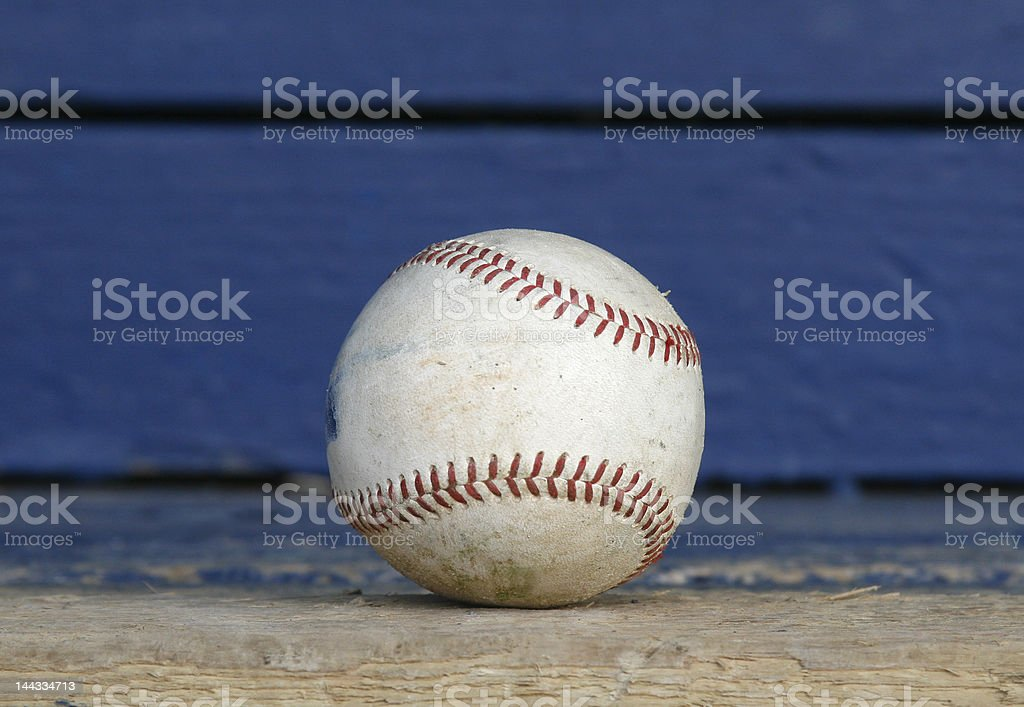 old baseball on a stadium bench royalty-free stock photo