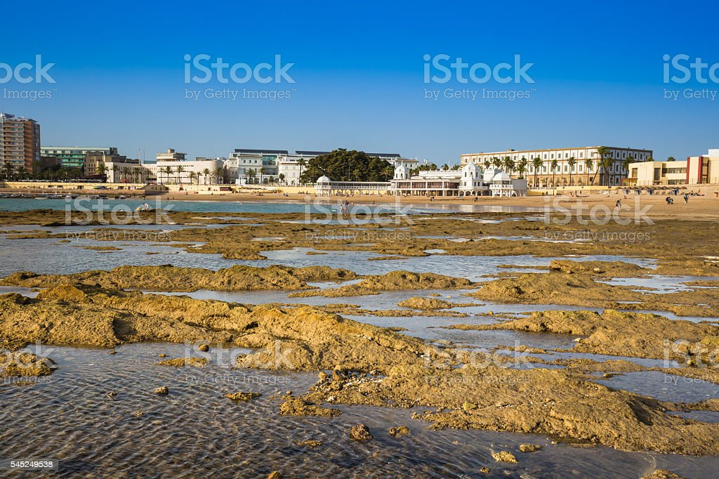 Old bathhouse on the beach of 'La Caleta stock photo