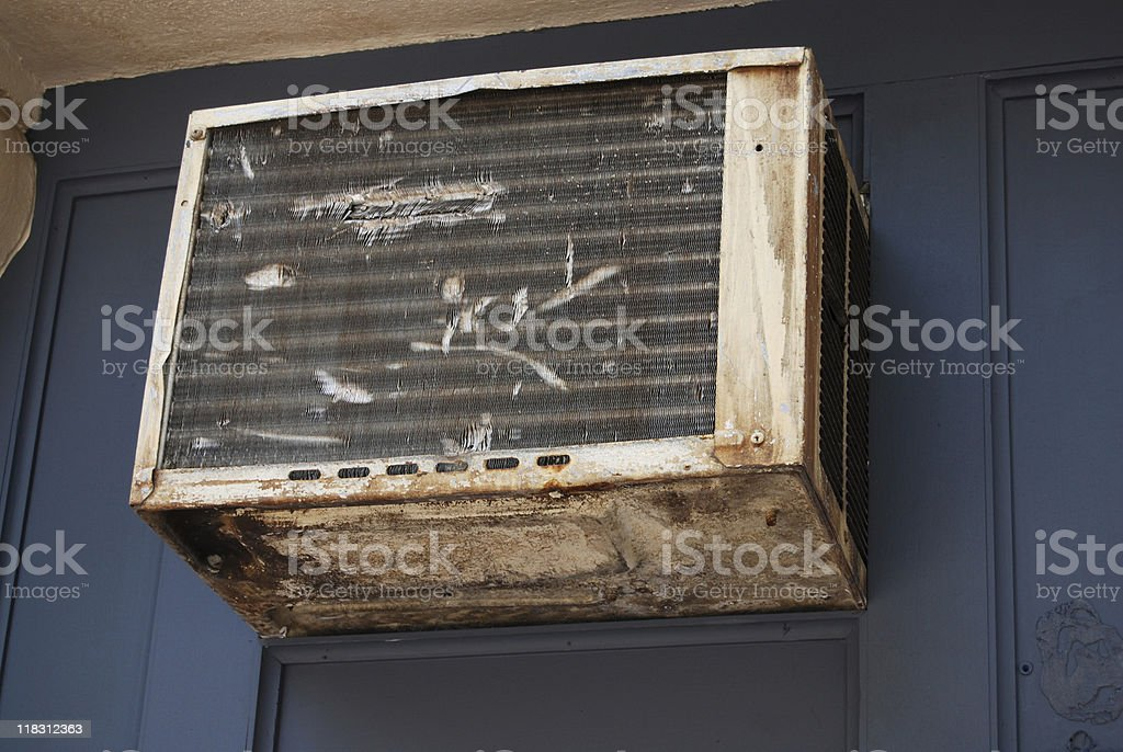 Old battered air conditioning vent stock photo