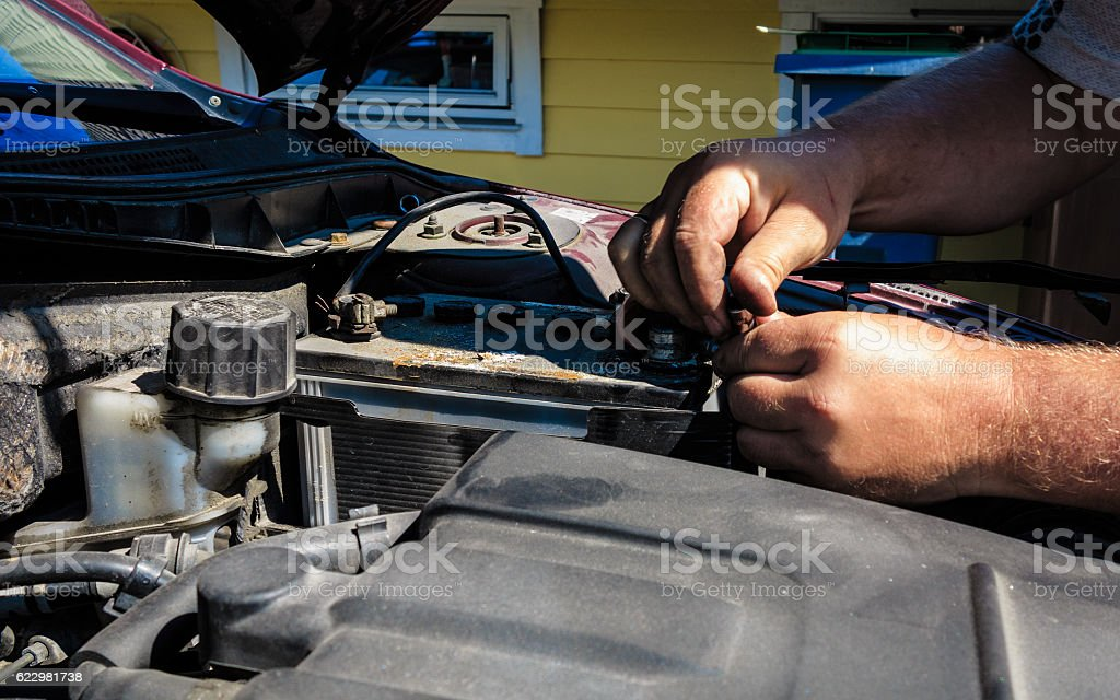 old battery car terminal in engine room stock photo