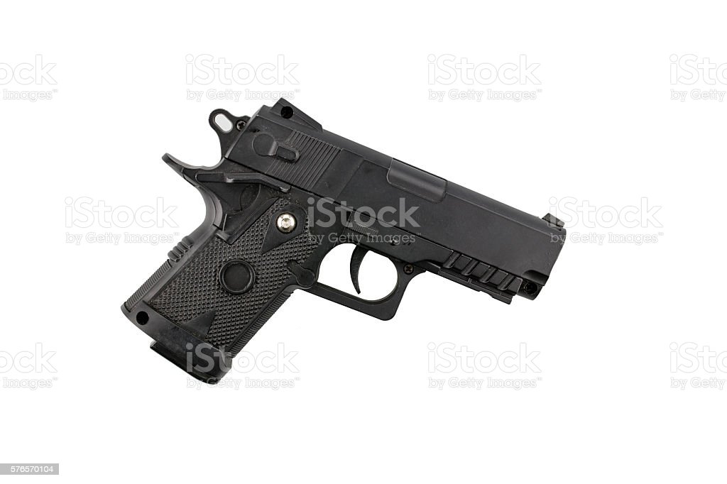Old BB gun isolated on white stock photo
