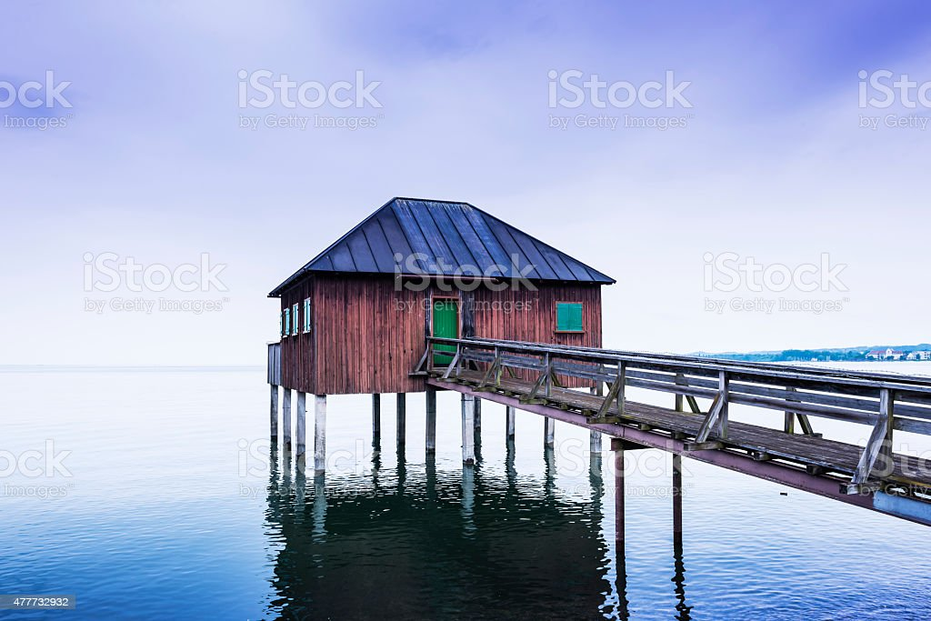 Old beach house at Lake Constance (Bodensee). stock photo