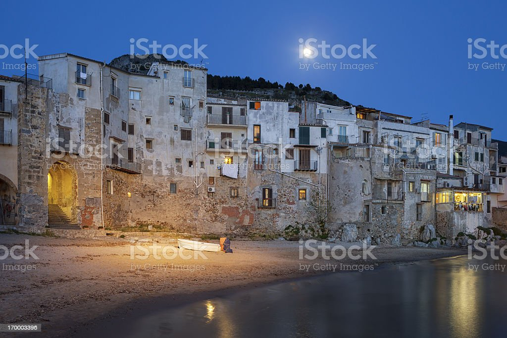Old beach in Cefal? at dusk, Sicily Italy royalty-free stock photo