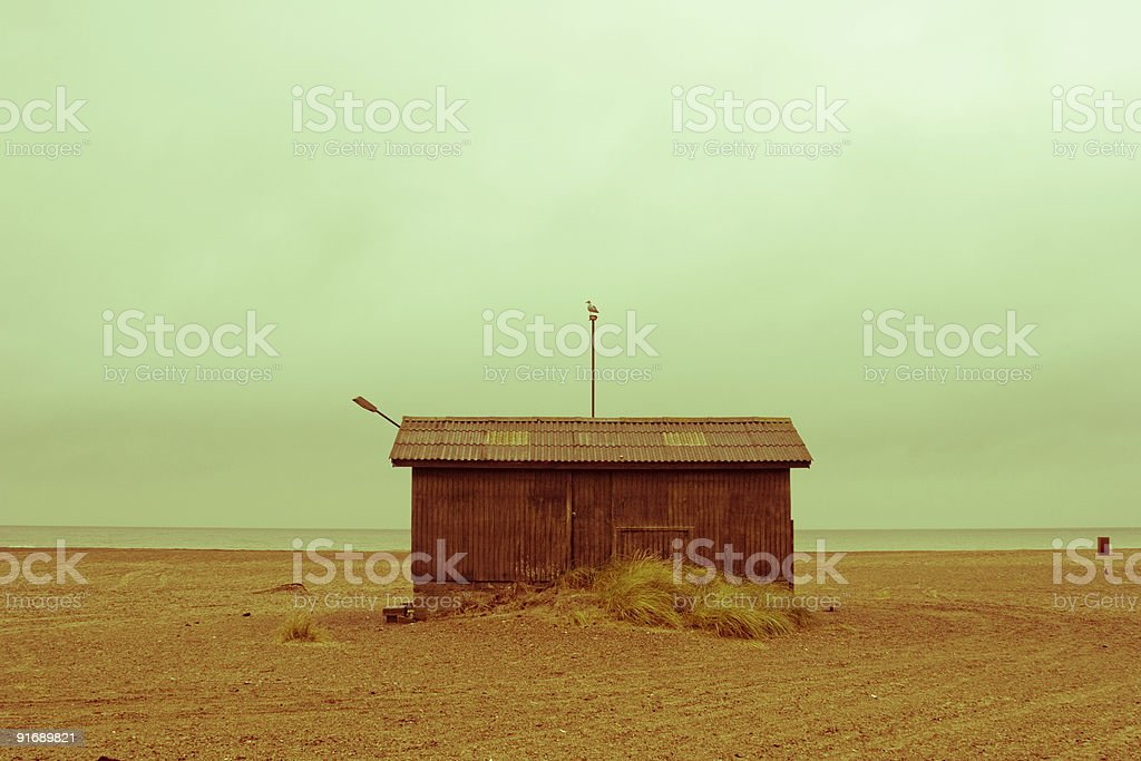 Old beach shed royalty-free stock photo