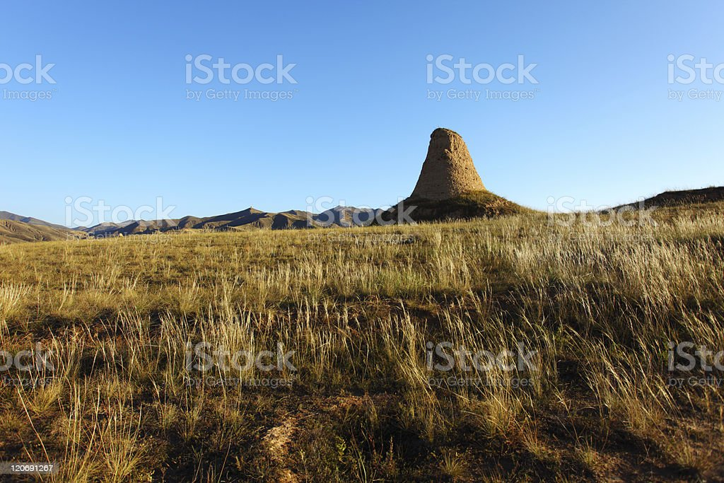 old beacon and golden grassland royalty-free stock photo