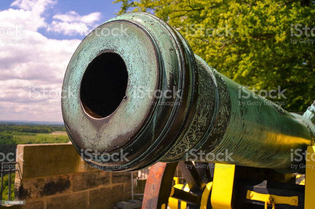 old beautiful cannon in fortress Koenigstein, Saxony Germany stock photo