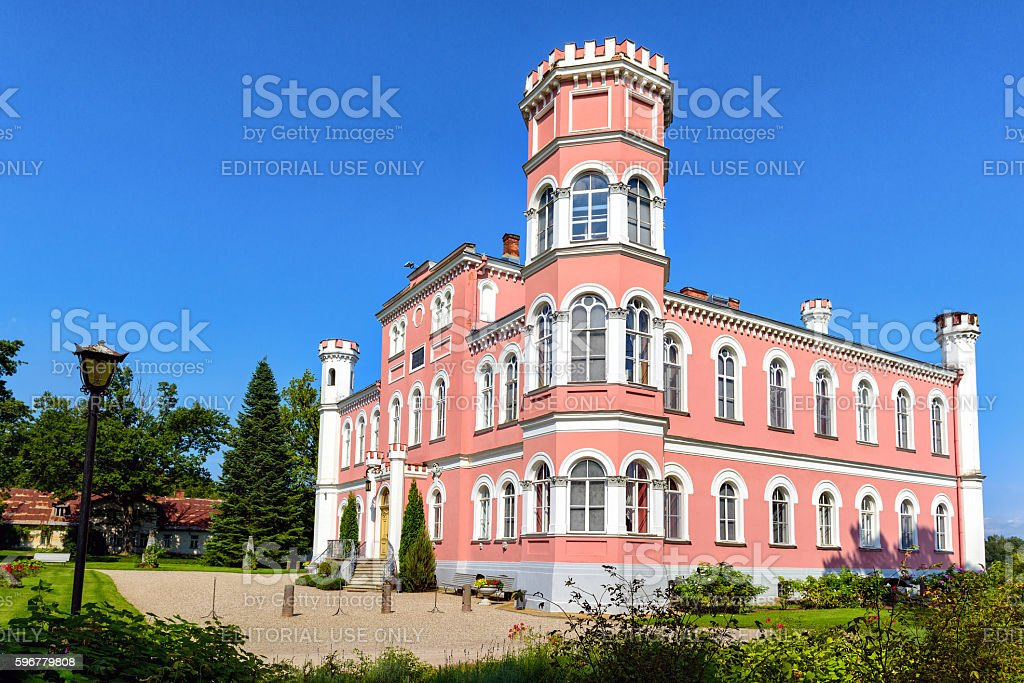 Old beautiful castle near Birini town in Latvia stock photo