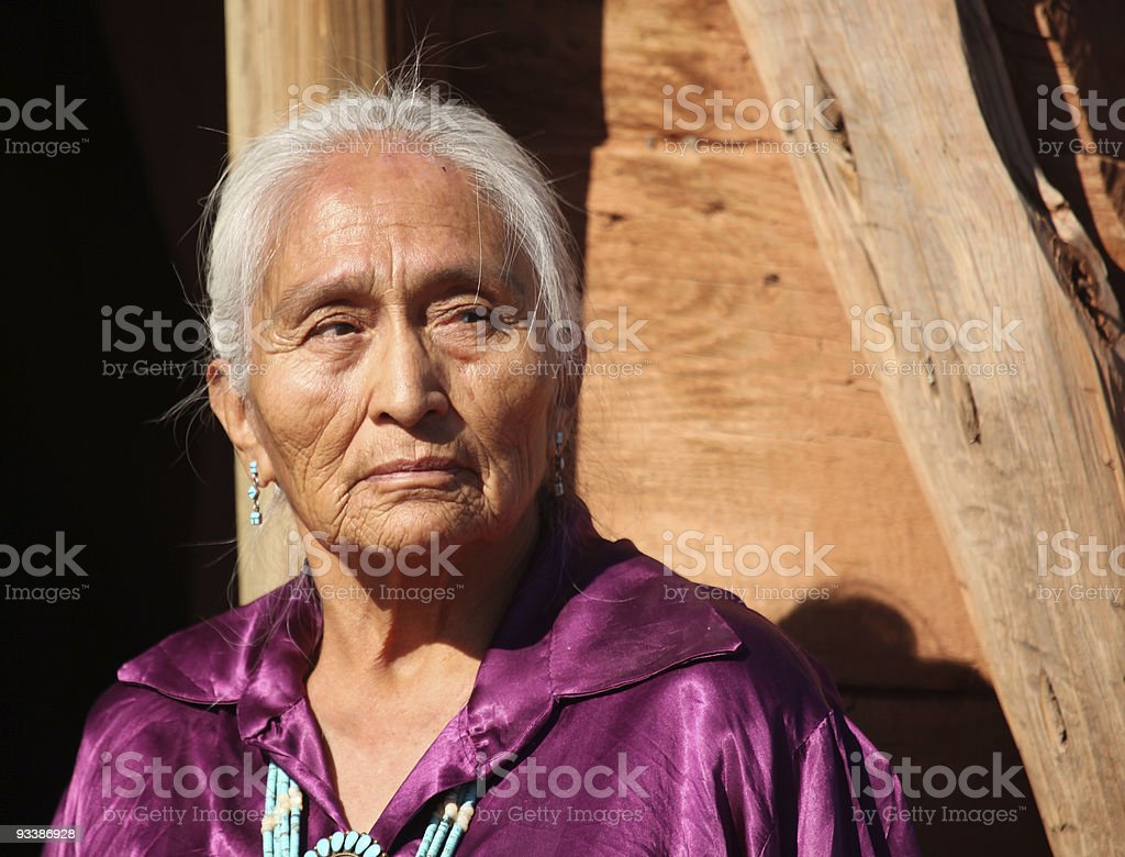 Old Beautiful Elderly Navajo Woman stock photo