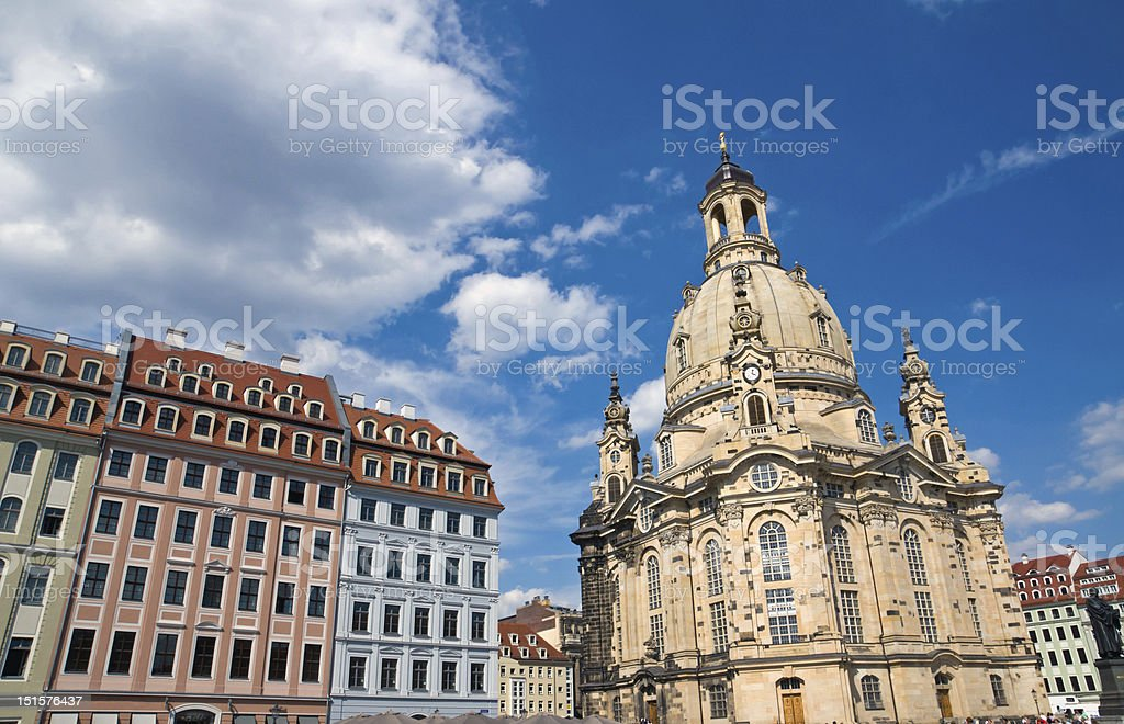 Old beautiful houses around the Frauenkirche stock photo