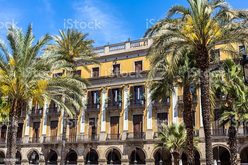 Old beautiful houses with palm trees in Barcelona stock photo