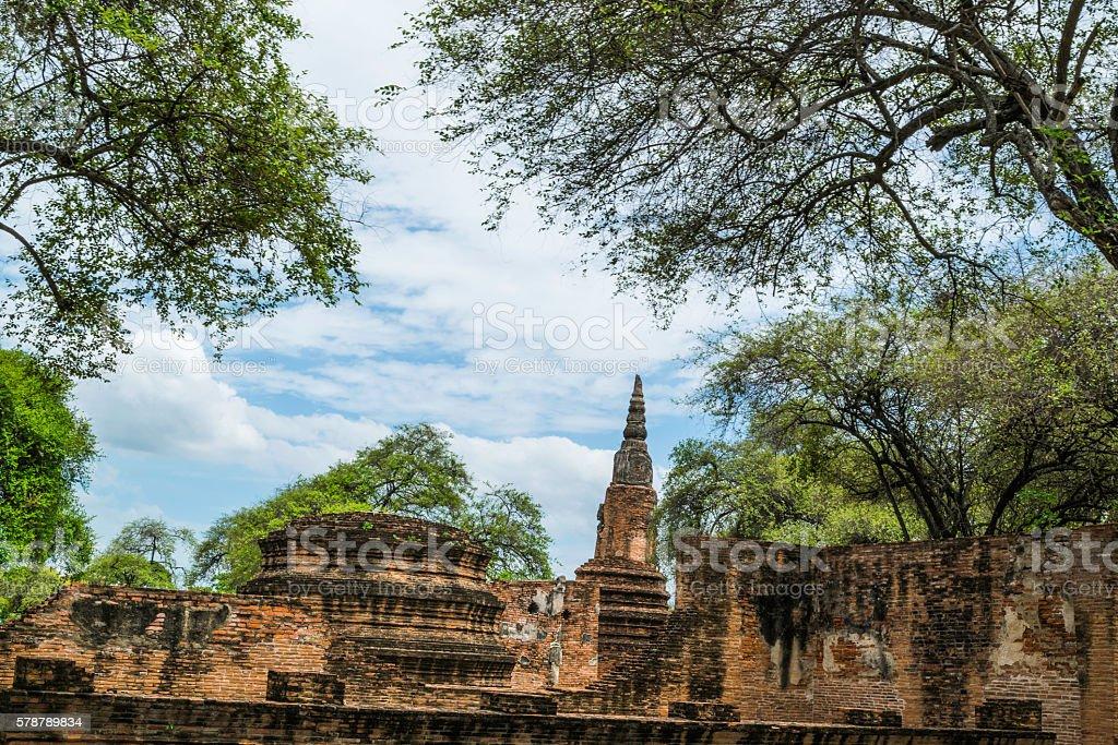 Old Beautiful Thai Temple wat Mahathat, Ayutthaya Historical Park, Ayutthaya, Thailand stock photo
