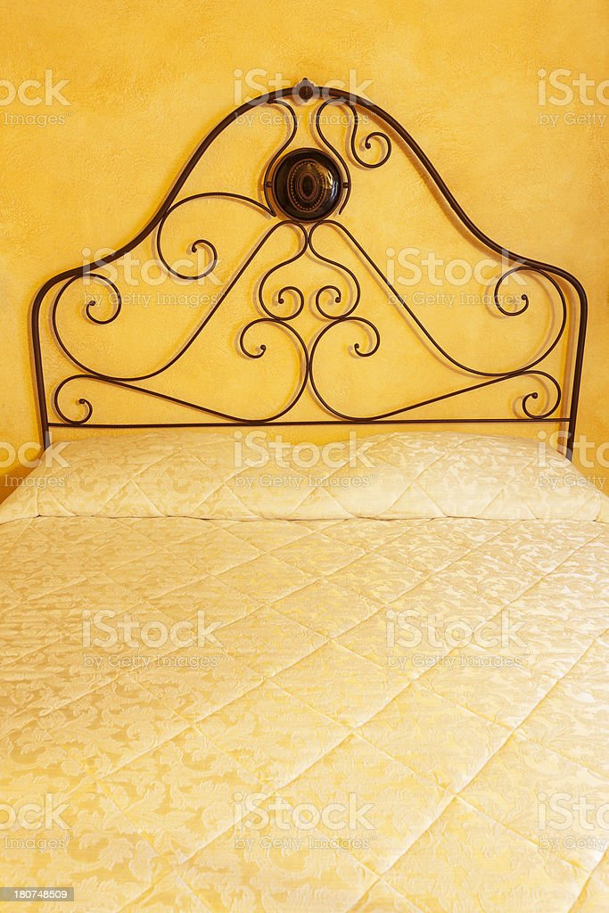 Old Bed in Tuscan House, Italy royalty-free stock photo