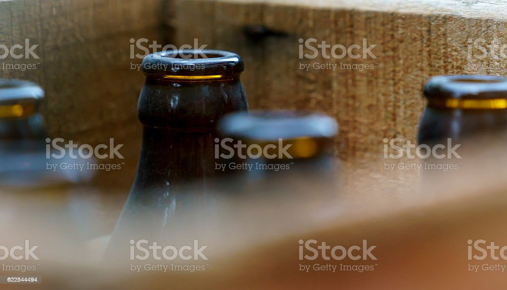 Old beer bottles stock photo