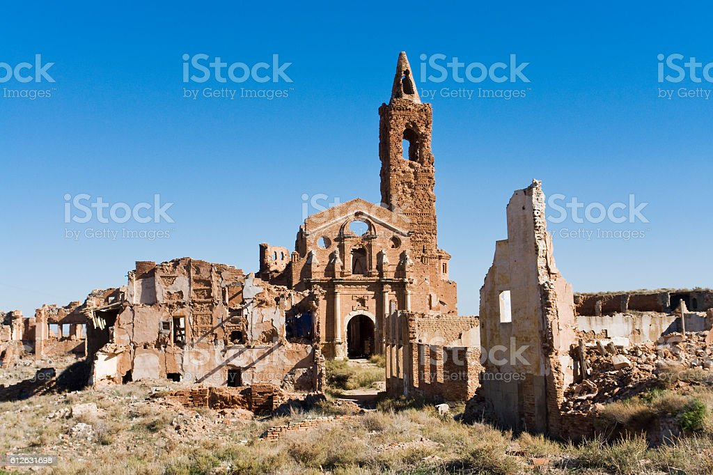 Old Belchite destructed during the spanish civil war stock photo
