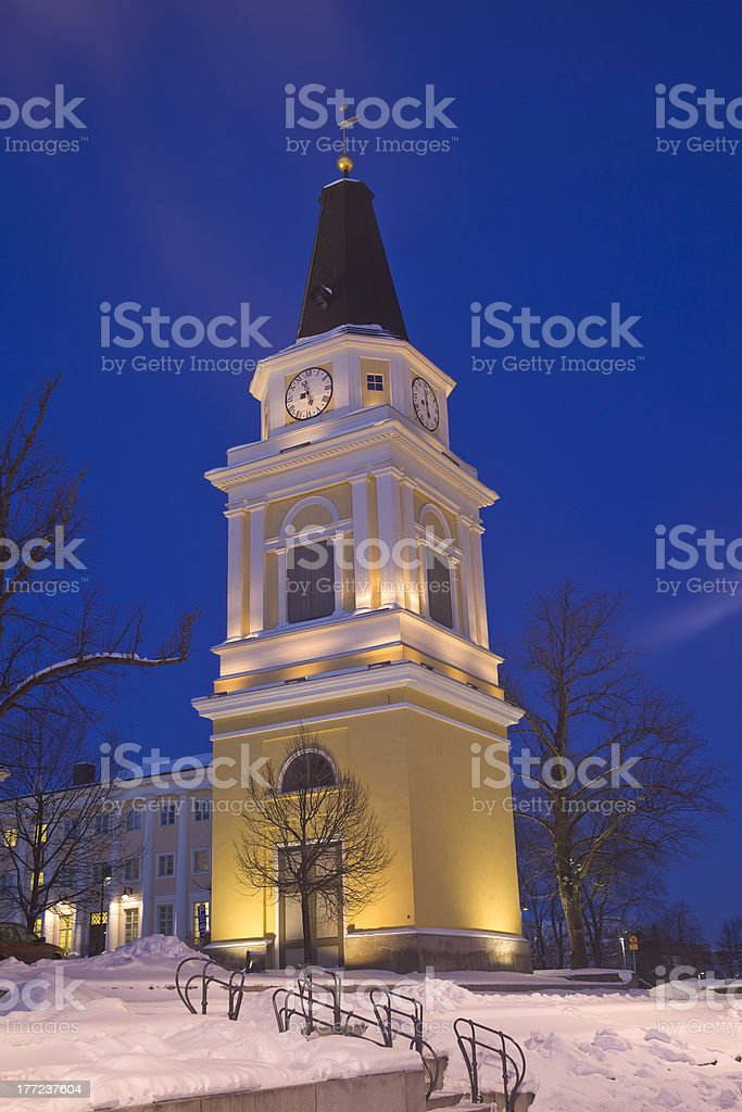 Old belfry at night royalty-free stock photo