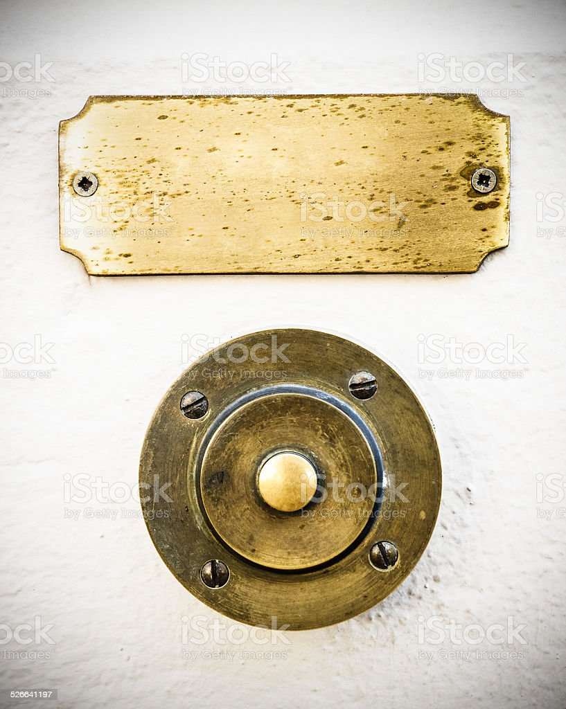 old bell button and nameplate stock photo