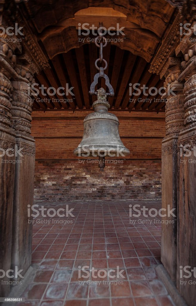 Old bell inside the  old palace in Patan, Nepal stock photo