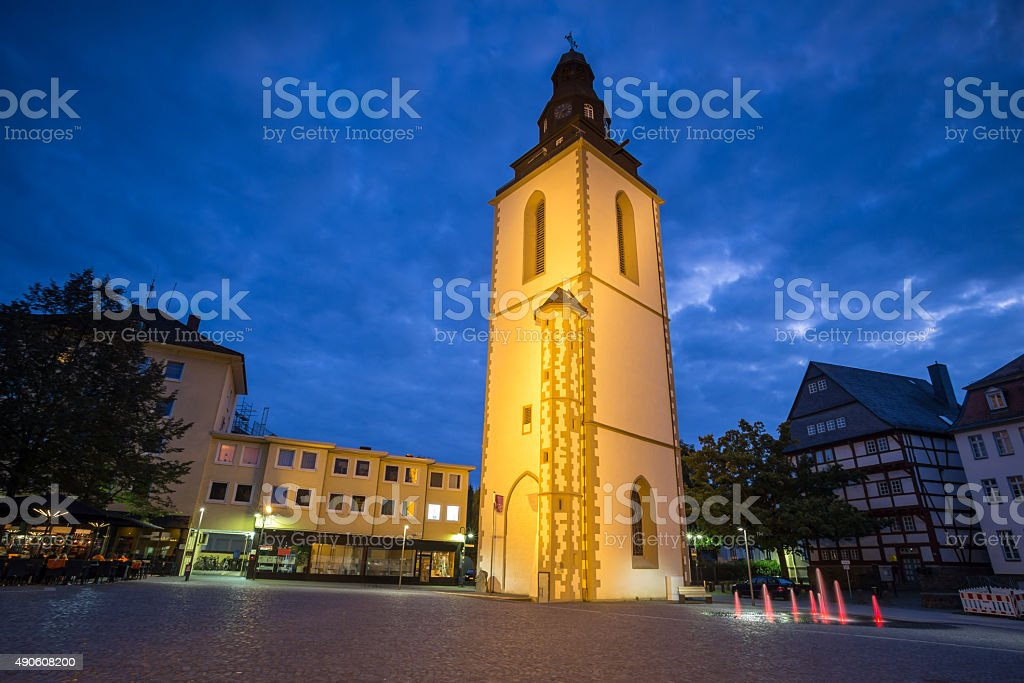 old bell tower giessen germany in the evening stock photo