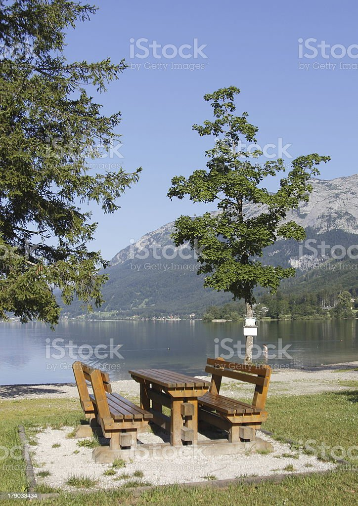 Old bench in mountains panorama royalty-free stock photo