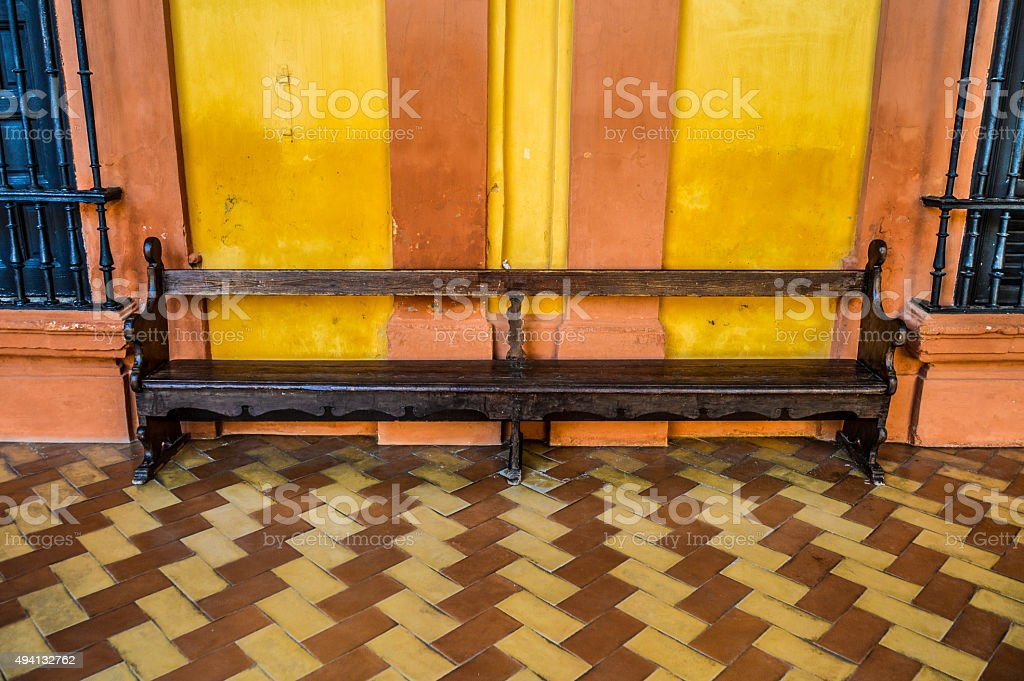 Old bench in Spain stock photo