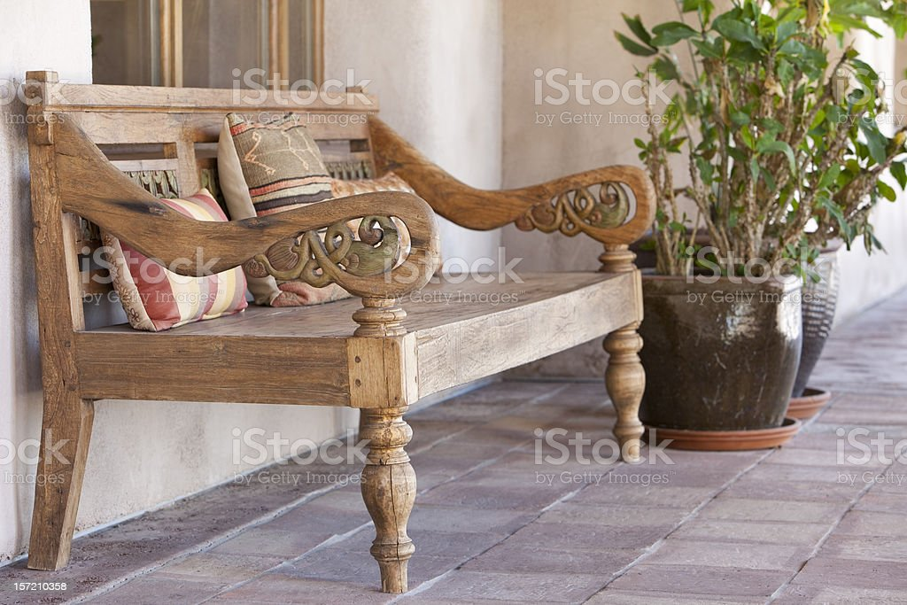 Old Bench on Hacienda Patio stock photo