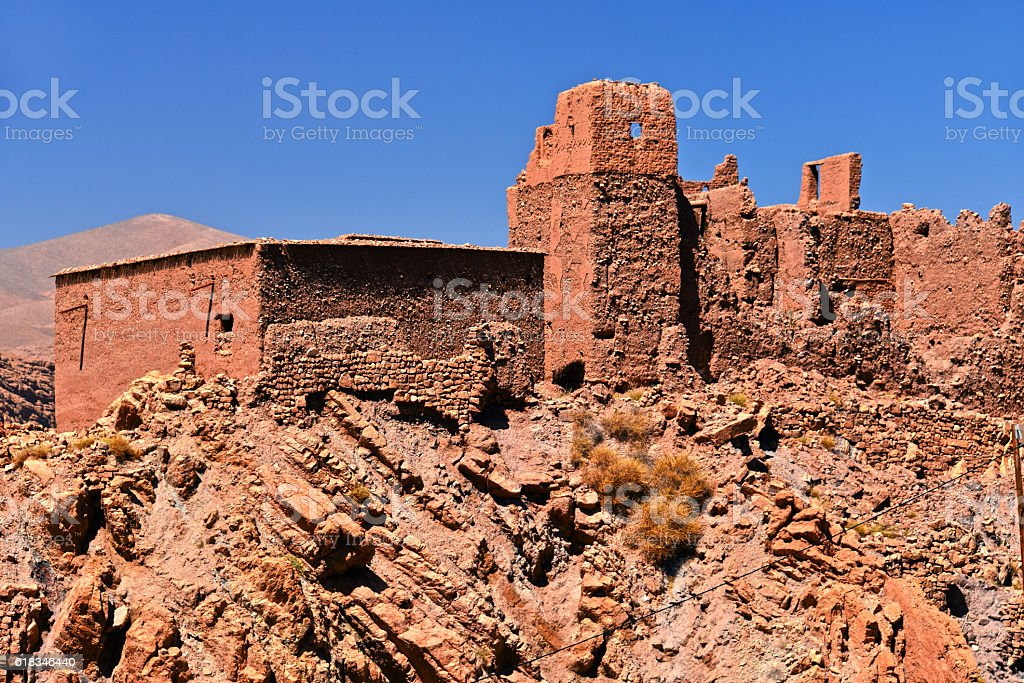 Old berber architecture near the city of Tamellalt, Morocco stock photo