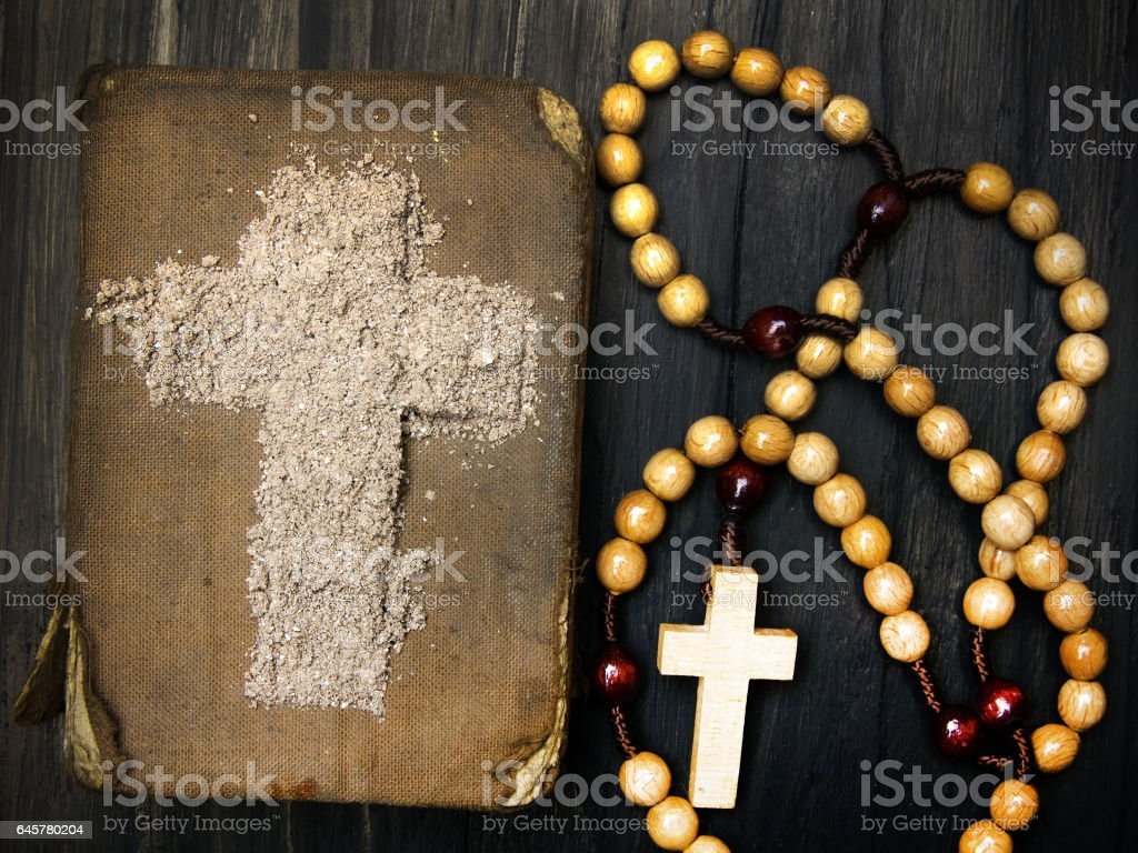 Old bible rosary and cross of ash ash wednesday stock photo old bible rosary and cross of ash ash wednesday royalty free stock buycottarizona
