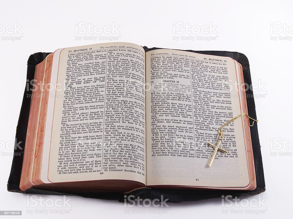 Old Bible with gold cross royalty-free stock photo