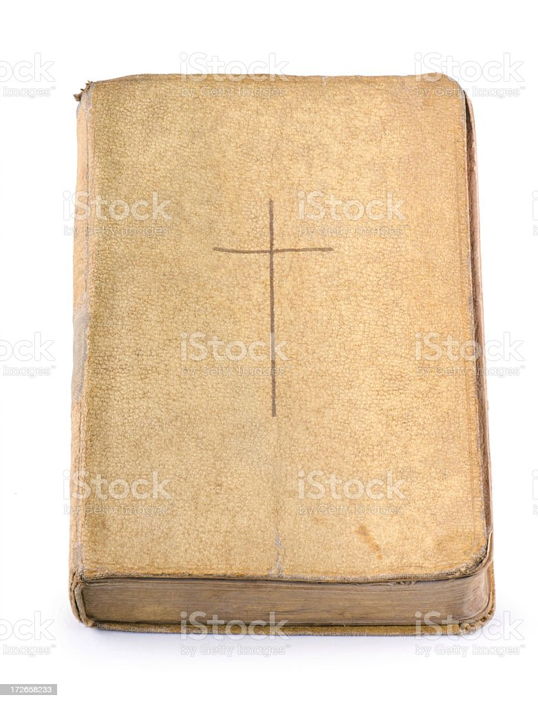 Old Bible with Worn Cover & Frayed Corners stock photo