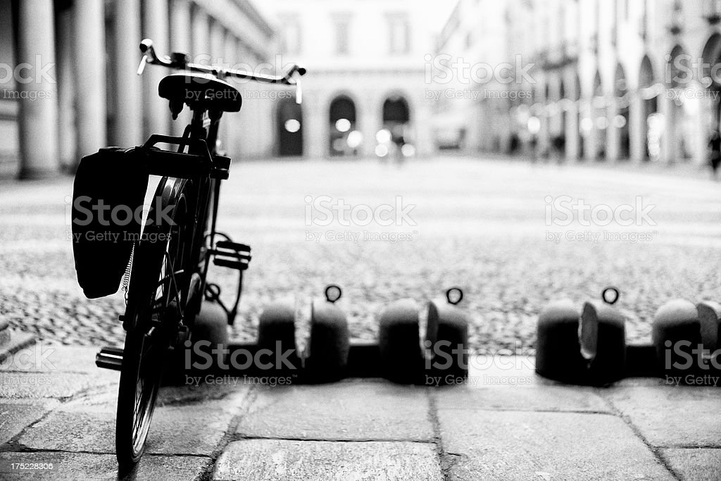 Old Bicycle. Black and White royalty-free stock photo