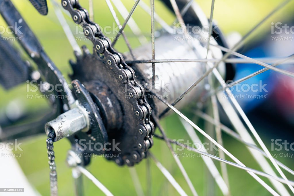 old  Bicycle chain close-up stock photo