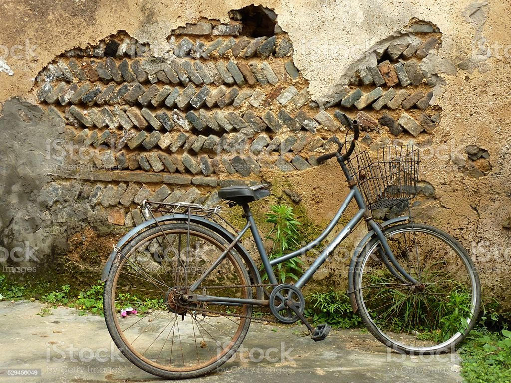 Old bicycle in Fuli' village, Guangxi stock photo