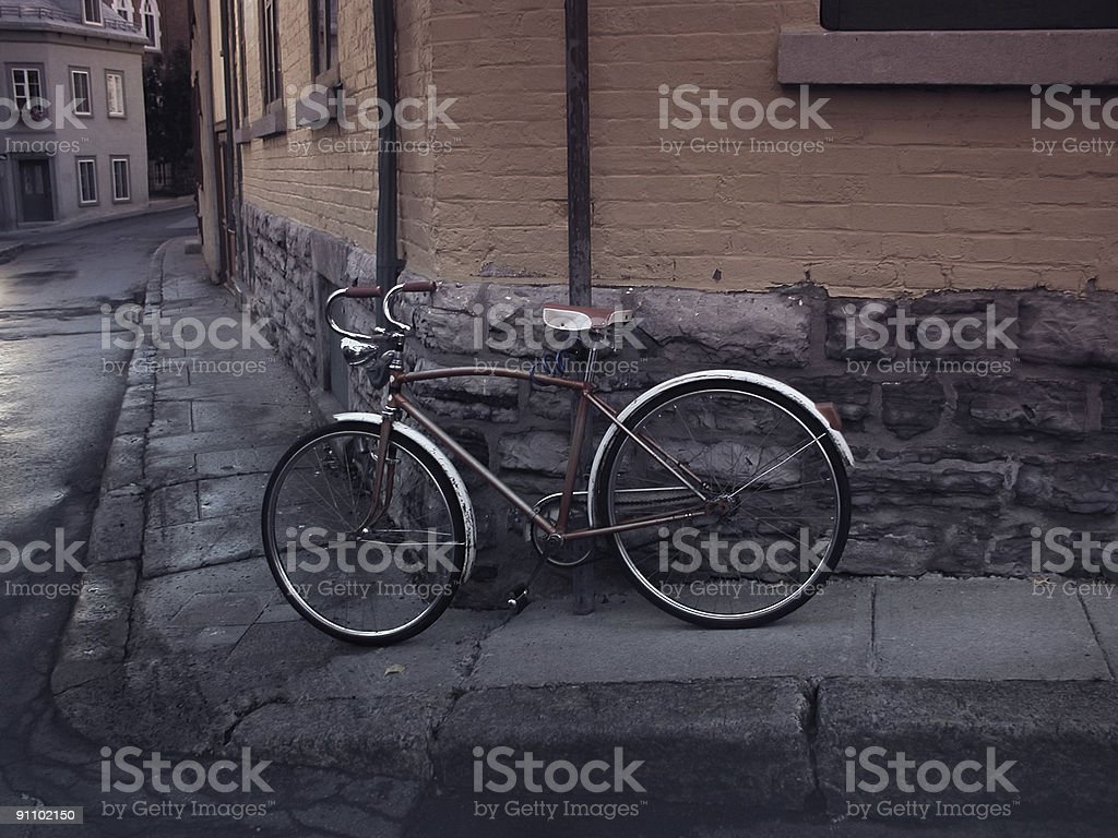 Old Bicycle in Vieux Quebec royalty-free stock photo