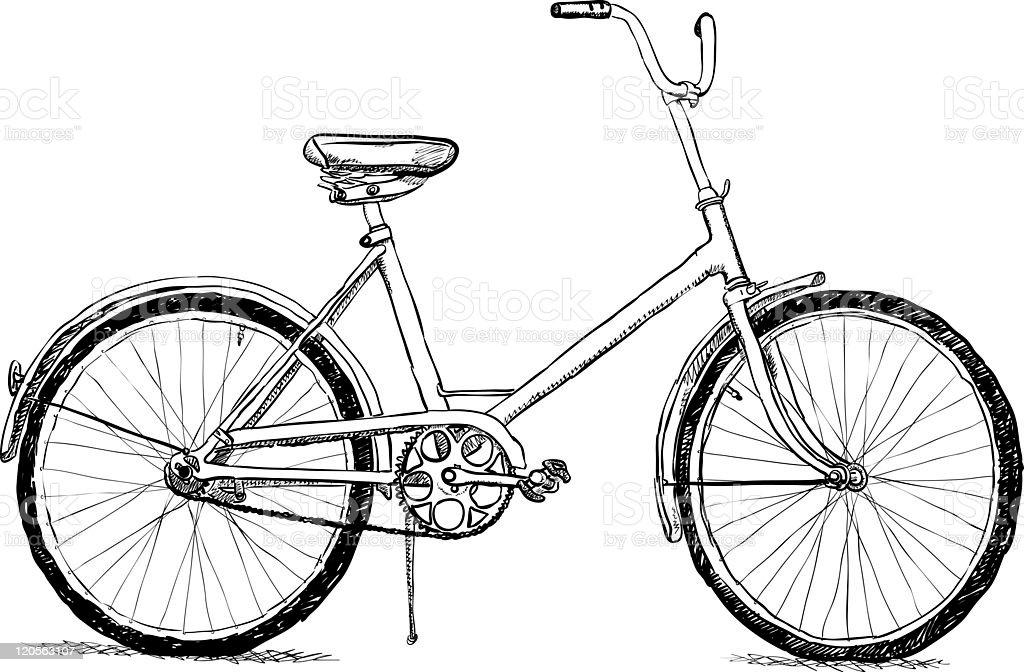 Old bicycle monochrome illustration royalty-free stock photo