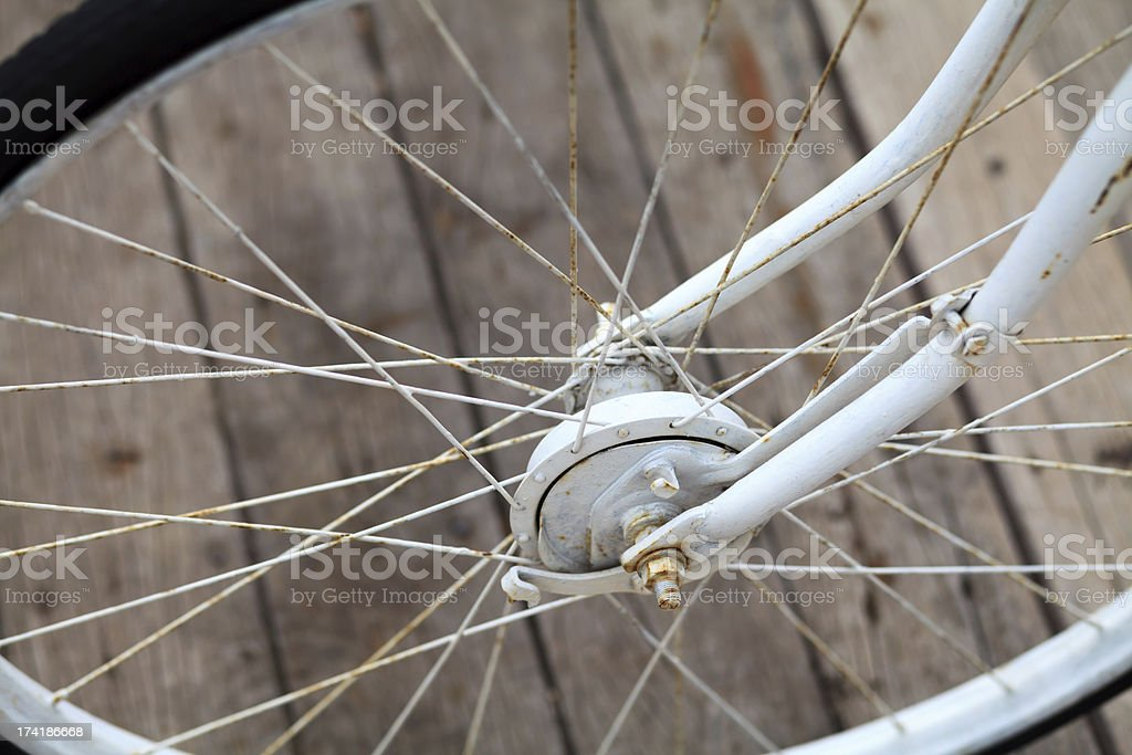 old bicycle wheel transport royalty-free stock photo
