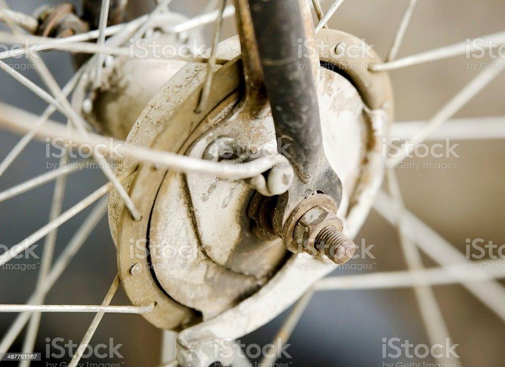 old bike wheel stock photo