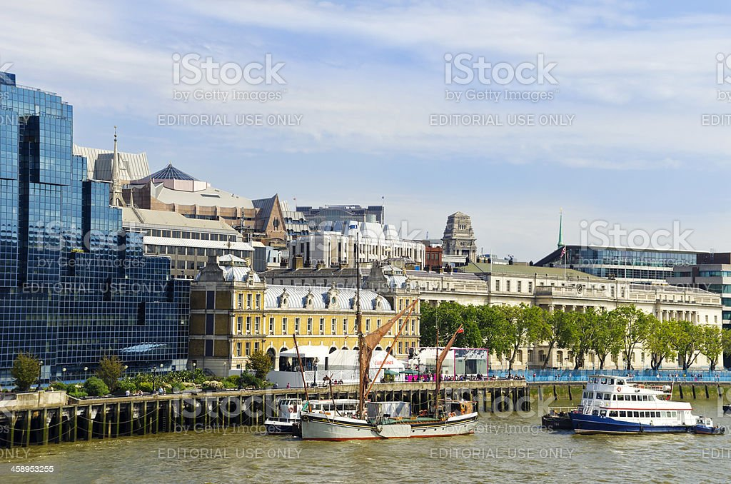 Old Billingsgate and moored wherry stock photo