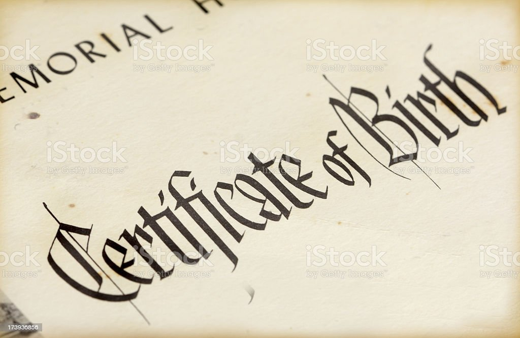 Old Birth Certificate stock photo