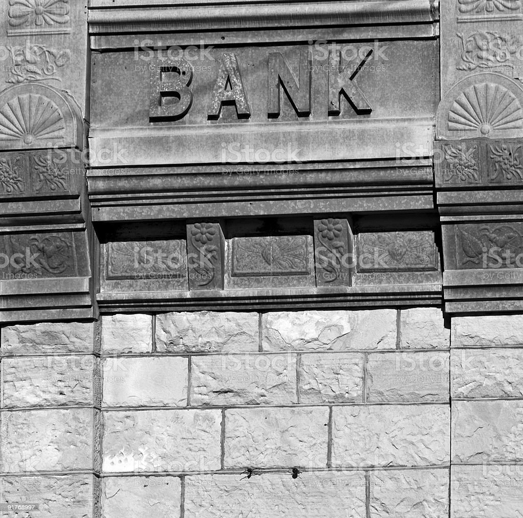Old black and white photo of a bank sign stock photo