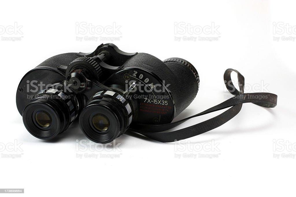 Old Black Binoculars Isolated on White Background royalty-free stock photo