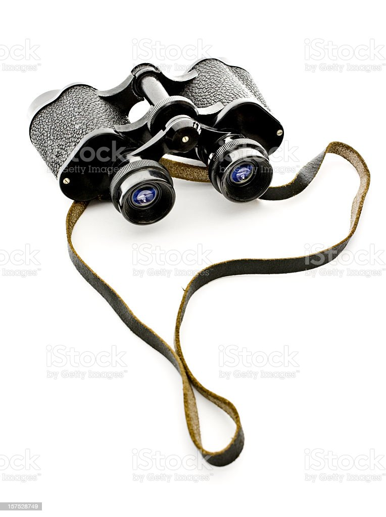 Old black binoculars on white royalty-free stock photo