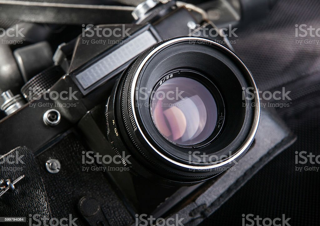 old black camera close-up stock photo